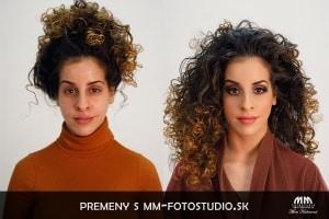 vizážistka Bratislava fotomakeup pred a po líčení